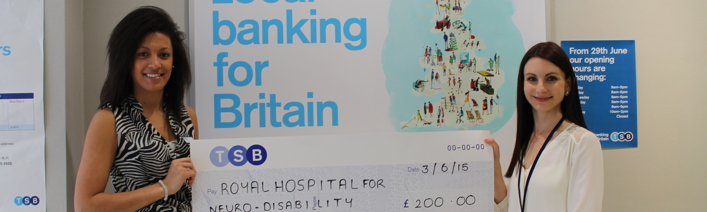 TSB chose to fundraise at work for the RHN, and this is their cheque presentation