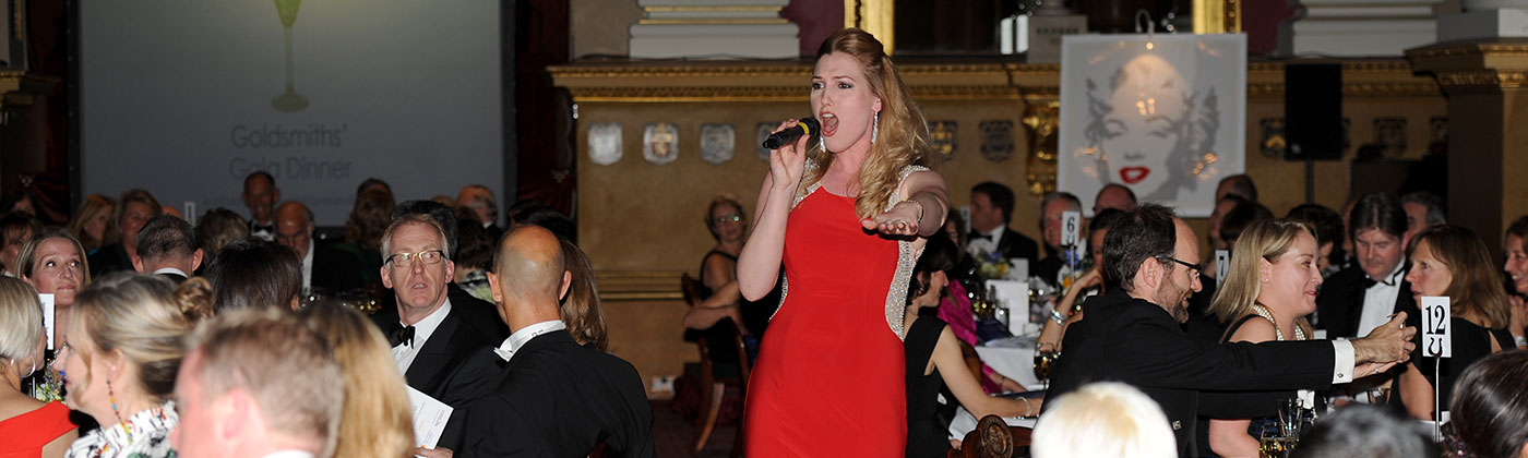 Marianne Benedict sings at the RHN gala dinner at the Goldsmiths' Company