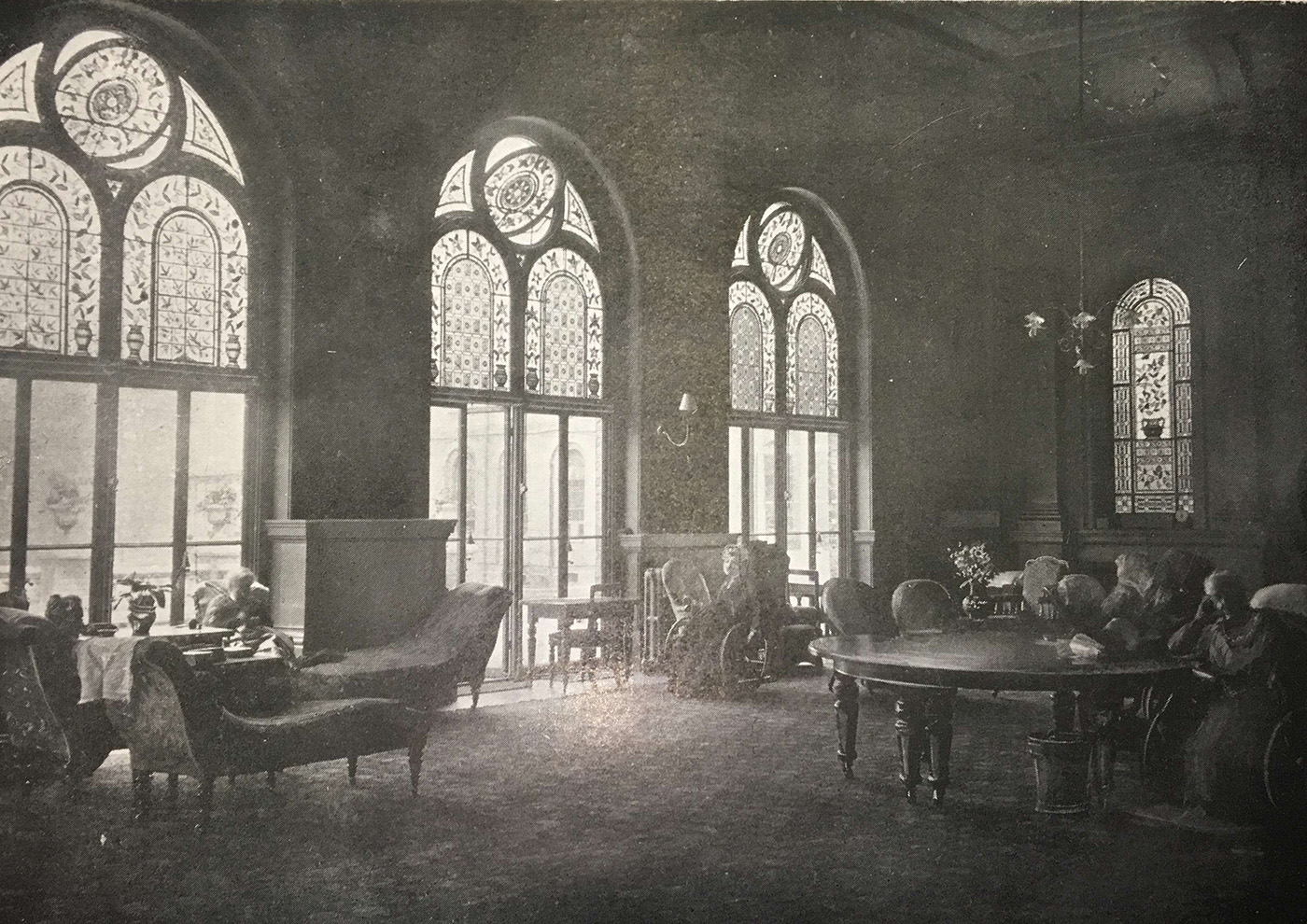 The Assembly Room with original stained glass at the RHN