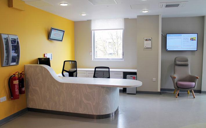 A modern reception desk on a hospital ward