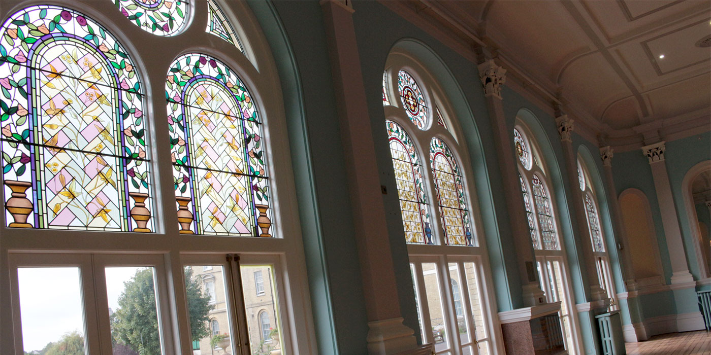 restored stained glass at Royal Hospital for Neuro-disability